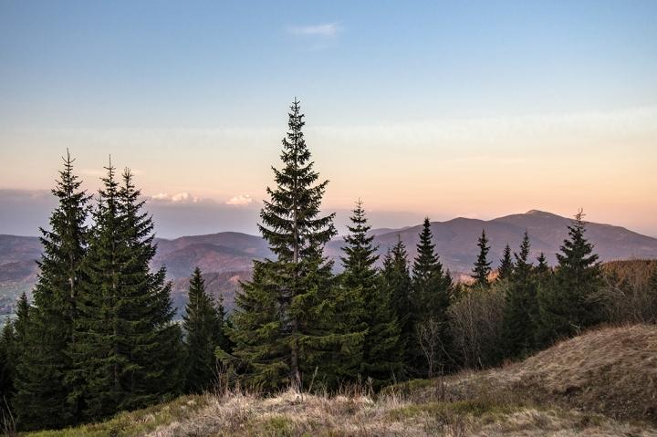 Babia Góra z Hali Miziowej zachód słońca