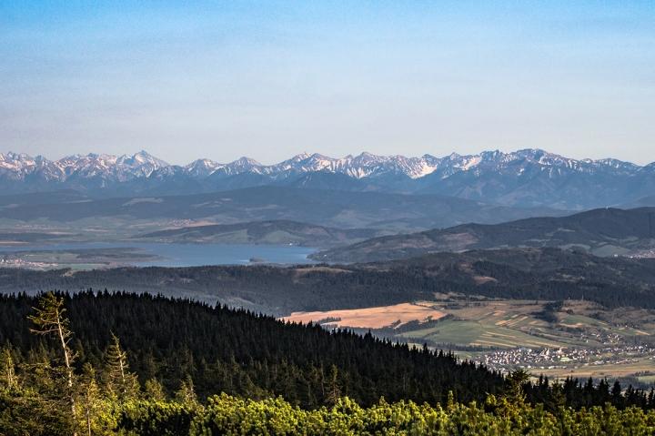 Pilsko widok na Tatry, panorama Tatr