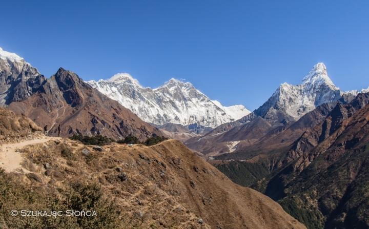 Everest View Hotel szlak, trekking, Ama Dablam, Namche Bazar