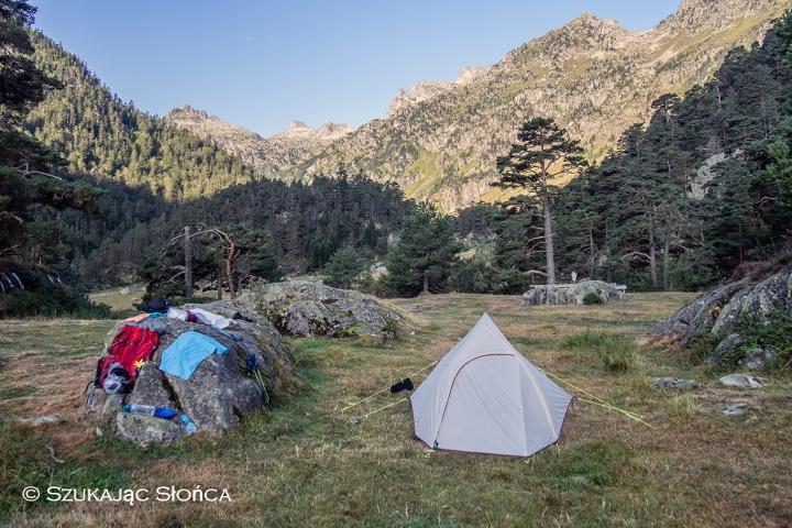 Pireneje biwak namiot